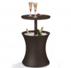 Keter Pacific Cool Bar Outdoor Patio Furniture and Hot Tub Side Table with 7.5 Gallon Beer and Wine