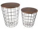 Lavish Home 80-ENDTBL-2 (Set of 2) Nesting End Storage Convertible Round Metal Basket Wood Veneer To