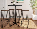 Lavish Home Bar Height Stools-Backless Barstools with Hairpin Legs Wood Seat-Kitchen or Dining Room-