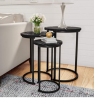 "Lavish Home Round Nesting Tables, Largest Dimensions: (Diameter) 17.75""x (H) 25"" Medium: (D) 15."