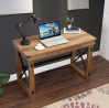 LOKATSE HOME Rustic Furniture Sturdy Modern Computer Table for Home Office, Wood and Metal Writing D