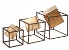 Madison Park Quad Cube Home Décor - 3 Piece Set Metal Accent Statue Modern Luxe Geomatric Art Sculp