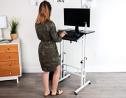 Mind Reader SDROLL-BKWH Mobile Sitting, Standing Desk Rolling Reversible Home Office Laptop Workstat