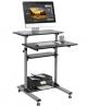 Mobile Standing Desk - TechOrbits Rolling Workstation Cart - Stand Up Media Podium - Height Adjustab