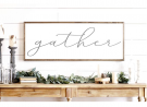 N/ A Gather Sign Gather Wood Sign Home Decor Sign Thanksgiving Signs Large Gather Sign Fall Wall Dec
