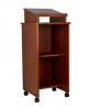 Norwood Commercial Furniture Mobile Stand-Up Cherry Lectern Podium with Casters
