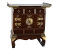 Oriental Furniture Korean Antique Style 3 Drawer End Table Cabinet
