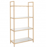 OSP Home Furnishings Alios Bookcase, White Gloss Finish with Gold Plated Base