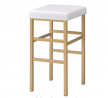 OSP Home Furnishings Backless Stool with Gold Frame, 30-Inch, White