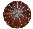 Premium Moroccan Leather Pouf - Handmade - Delivered Stuffed - Ottoman, Footstool, Floor Cushion (Ho