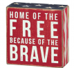 Primitives by Kathy 23148 Patriotic Box Sign, 4 x 4, Home Of The Free
