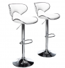 Roundhill Furniture Masaccio Cushioned White Leatherette Upholstery Airlift Swivel Barstool (Set of