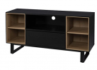 SEI Furniture Kinsham Storage Media Console, Black/Natural