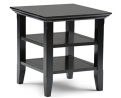 SIMPLIHOME Acadian SOLID WOOD 19 inch wide Square Rustic Contemporary End Side Table in Black with S