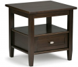 SIMPLIHOME Warm Shaker End Table, 20 inch, Tobacco Brown