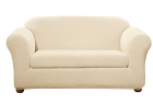 SureFit Home Decor Stretch Pinstripe Box Cushion Loveseat Two Piece Slipcover, Form Fit, Polyester/S