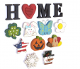 The Lakeside Collection Wooden Decorative Home Signs with Letters, Pumpkin, Turkey, Snowflake - 13 P