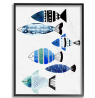 The Stupell Home Décor Collection Collage Tropical Blue Green and Black Patterned Fish Framed Gicle