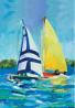 Toland Home Garden Regatta 12.5 x 18 Inch Decorative Colorful Sail Boat Summer Lake Ocean Sailing Ga