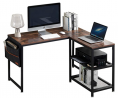 VECELO Vintage Work Station/Writing Computer Laptop Table,L-Shaped Home Office Desk with 2 Open Shel