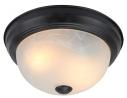 Yosemite Home Decor 2 Light Flushmount in Flat Black Finish with White Glass - JK101-11BK-W