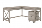Bush Furniture Key West 60W L Shaped Desk with Mobile File Cabinet in Washed Gray