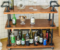 DOFURNILIM Industrial Bar Carts/Serving Carts/Kitchen Carts/Wine Rack Carts on Wheels with Storage -