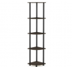Furinno Turn-N-Tube 5 Tier Corner Shelf, Dark Brown Grain/Black
