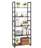 Homfa Bookshelf Rack 5 Tier Vintage Bookcase Shelf Storage Organizer Modern Wood Look Accent Metal F