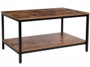 KOZYSPHERE Coffee Table with Metal Frame,2-Tier Tea Table with Storage Shelf,Cocktail Table TV Stand