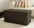 Lavish Home Large Folding Storage Bench Ottoman – Tufted Cube Organizer Furniture with Removable B